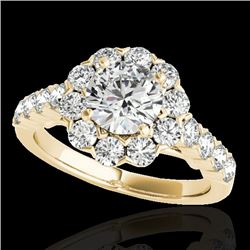 3 CTW H-SI/I Certified Diamond Solitaire Halo Ring 10K Yellow Gold - REF-410Y9K - 33555