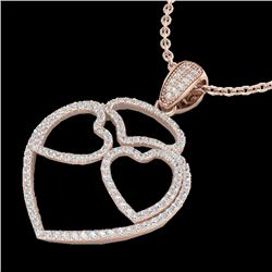 1.20 CTW Micro Pave VS/SI Diamond Designer Heart Necklace 14K Rose Gold - REF-110K9W - 22547