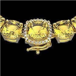 87 CTW Citrine & VS/SI Diamond Halo Micro Pave Necklace 14K Yellow Gold - REF-335K6W - 23341
