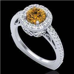 1.55 CTW Intense Fancy Yellow Diamond Engagement Art Deco Ring 18K White Gold - REF-200T2M - 37987