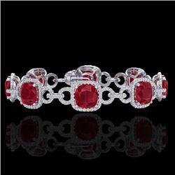 25 CTW Ruby & Micro VS/SI Diamond Bracelet 14K White Gold - REF-457Y3K - 23028