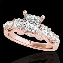 1.75 CTW VS/SI Certified Princess Diamond 3 Stone Ring 10K Rose Gold - REF-394H9A - 35359