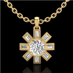 1.33 CTW VS/SI Diamond Solitaire Art Deco Necklace 18K Yellow Gold - REF-220W9F - 37069