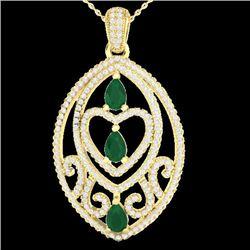3.50 CTW Emerald & Micro Pave VS/SI Diamond Heart Necklace 18K Yellow Gold - REF-218M2H - 21288