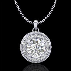 1.25 CTW VS/SI Diamond Solitaire Art Deco Stud Necklace 18K White Gold - REF-218M2H - 37142