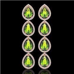8.4 CTW Peridot & Diamond Halo Earrings 10K Rose Gold - REF-172X2T - 41310