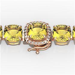 35 CTW Citrine & Micro VS/SI Diamond Halo Designer Bracelet 14K Rose Gold - REF-134N2Y - 23303