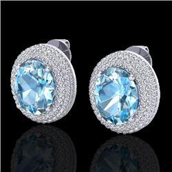 10 CTW Sky Blue Topaz & Micro Pave VS/SI Diamond Earrings 18K White Gold - REF-152W4F - 20218