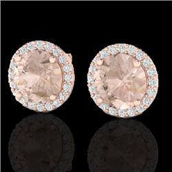 3 CTW Morganite & Halo VS/SI Diamond Micro Pave Earrings Solitaire 14K Rose Gold - REF-68T4M - 21496