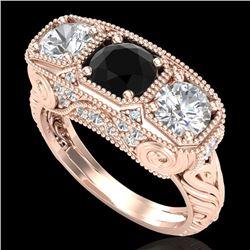 2.51 CTW Fancy Black Diamond Solitaire Art Deco 3 Stone Ring 18K Rose Gold - REF-309W3F - 37717