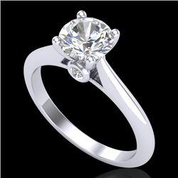 1.08 CTW VS/SI Diamond Solitaire Art Deco Ring 18K White Gold - REF-361W8F - 37286