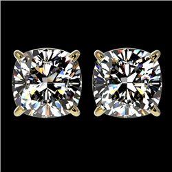 2.50 CTW Certified VS/SI Quality Cushion Cut Diamond Stud Earrings 10K Yellow Gold - REF-840X2T - 33