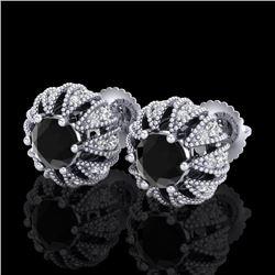 2.01 CTW Fancy Black Diamond Art Deco Micro Pave Stud Earrings 18K White Gold - REF-143A6X - 37730