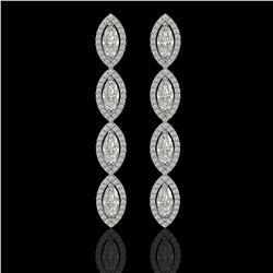 5.33 CTW Marquise Diamond Designer Earrings 18K White Gold - REF-986N2Y - 42656