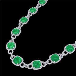 56 CTW Emerald & Micro VS/SI Diamond Eternity Necklace 14K White Gold - REF-960W2F - 23041