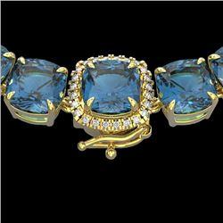 87 CTW London Blue Topaz & VS/SI Diamond Halo Micro Necklace 14K Yellow Gold - REF-317F6N - 23369