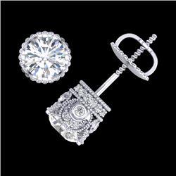 1.85 CTW VS/SI Diamond Solitaire Art Deco Stud Earrings 18K White Gold - REF-261M8H - 36857
