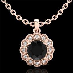1.15 CTW Fancy Black Diamond Solitaire Art Deco Stud Necklace 18K Rose Gold - REF-89A3X - 37843