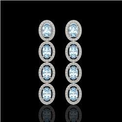 4.68 CTW Aquamarine & Diamond Halo Earrings 10K White Gold - REF-115K6W - 40526