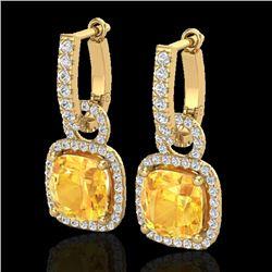 7 CTW Citrine & Micro Pave VS/SI Diamond Earrings 18K Yellow Gold - REF-100K8W - 22960