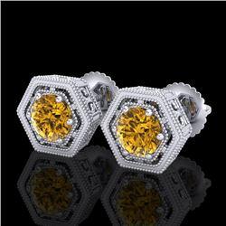 1.07 CTW Intense Fancy Yellow Diamond Art Deco Stud Earrings 18K White Gold - REF-131H8A - 37511