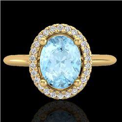 1.50 CTW Aquamarine & Micro VS/SI Diamond Ring Solitaire Halo 18K Yellow Gold - REF-54K2W - 21002