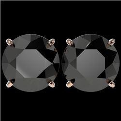 5.15 CTW Fancy Black VS Diamond Solitaire Stud Earrings 10K Rose Gold - REF-99H5A - 36715