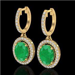 4.25 CTW Emerald & Micro Pave VS/SI Diamond Earrings Halo 18K Yellow Gold - REF-112N8Y - 20323