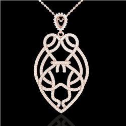 1.80 CTW Micro Pave VS/SI Diamond Heart Necklace Designer 14K Rose Gold - REF-144X5T - 21258