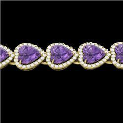 23 CTW Amethyst & Micro Pave Bracelet Heart Halo 14K Yellow Gold - REF-378M5H - 22611