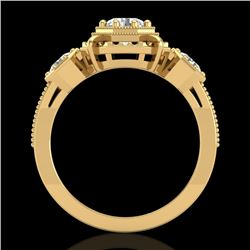 1.01 CTW VS/SI Diamond Solitaire Art Deco 3 Stone Ring 18K Yellow Gold - REF-200M2H - 36883