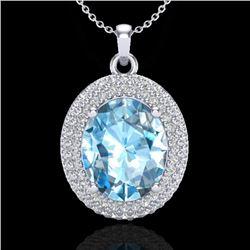 5 CTW Sky Blue Topaz & Micro Pave VS/SI Diamond Necklace 18K White Gold - REF-92A5X - 20557