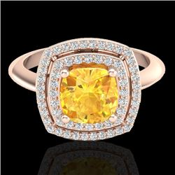 1.77 CTW Citrine & Micro VS/SI Diamond Pave Halo Ring 14K Rose Gold - REF-54K5W - 20756