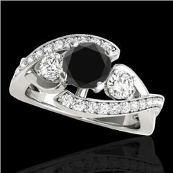 2.01 CTW Certified VS Black Diamond Bypass Solitaire Ring 10K White Gold - REF-113K3W - 35048