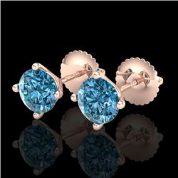 1.5 CTW Fancy Intense Blue Diamond Art Deco Stud Earrings 18K Rose Gold - REF-141F8N - 38238