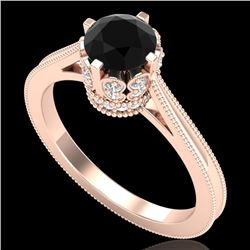 1.14 CTW Fancy Black Diamond Solitaire Engagement Art Deco Ring 18K Rose Gold - REF-94A5X - 37339