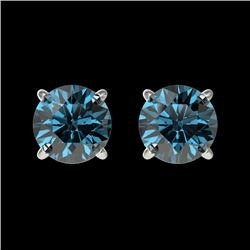 1 CTW Certified Intense Blue SI Diamond Solitaire Stud Earrings 10K White Gold - REF-87K2W - 33055