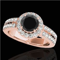 1.5 CTW Certified VS Black Diamond Solitaire Halo Ring 10K Rose Gold - REF-86N8Y - 33993