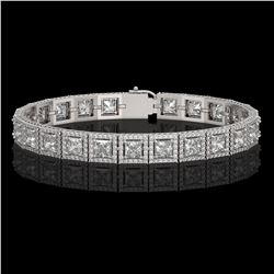 15.87 CTW Princess Diamond Designer Bracelet 18K White Gold - REF-2895X8T - 42635