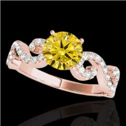 1.4 CTW Certified Si/I Fancy Intense Yellow Diamond Solitaire Ring 10K Rose Gold - REF-162M4H - 3524