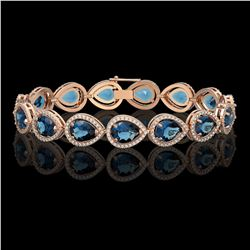21.06 CTW London Topaz & Diamond Halo Bracelet 10K Rose Gold - REF-293T3M - 41271