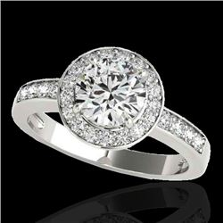 2 CTW H-SI/I Certified Diamond Solitaire Halo Ring 10K White Gold - REF-355N5Y - 34351