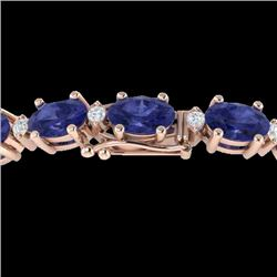 15 CTW Tanzanite & VS/SI Diamond Eternity Bracelet 10K Rose Gold - REF-119A3X - 21461