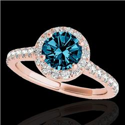 1.7 CTW Si Certified Fancy Blue Diamond Solitaire Halo Ring 10K Rose Gold - REF-209H3A - 33595