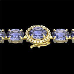 19.25 CTW Tanzanite & VS/SI Diamond Eternity Micro Halo Bracelet 14K Yellow Gold - REF-180F2N - 4024