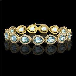 19.85 CTW Aquamarine & Diamond Halo Bracelet 10K Yellow Gold - REF-423H3A - 41260