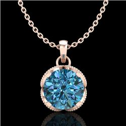 1.13 CTW Fancy Intense Blue Diamond Solitaire Art Deco Necklace 18K Rose Gold - REF-123N6Y - 37426
