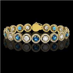 13.56 CTW Blue & White Diamond Designer Bracelet 18K Yellow Gold - REF-3235M5H - 42592