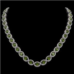 49.46 CTW Tourmaline & Diamond Halo Necklace 10K White Gold - REF-763N6Y - 40574