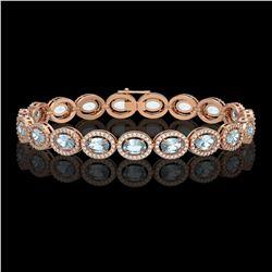 14.82 CTW Sky Topaz & Diamond Halo Bracelet 10K Rose Gold - REF-228T2M - 40482
